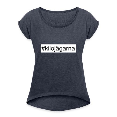 #kilo - T-shirt med upprullade ärmar dam