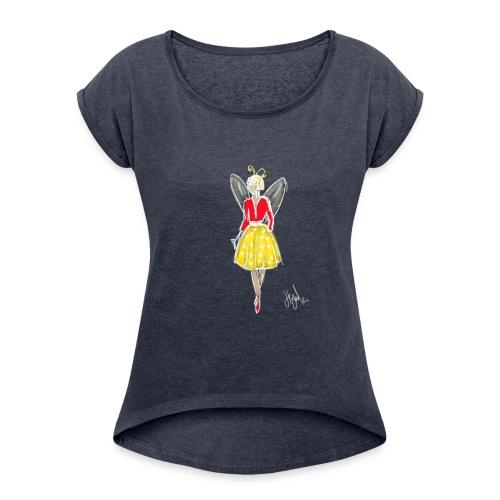 butterfly girl - T-shirt à manches retroussées Femme