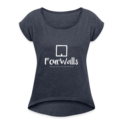White Logo Long - Women's T-Shirt with rolled up sleeves