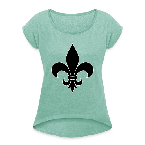 ranskan lilja - Naisten T-paita, jossa rullatut hihat