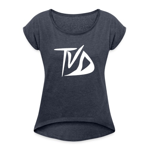 T-Shirt TvD / Black - Vrouwen T-shirt met opgerolde mouwen