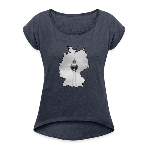 Berliner Fernsehturm im Deutschland Style - Frauen T-Shirt mit gerollten Ärmeln