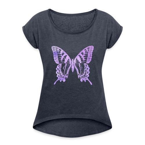 Watercolor Butterfly - T-shirt à manches retroussées Femme