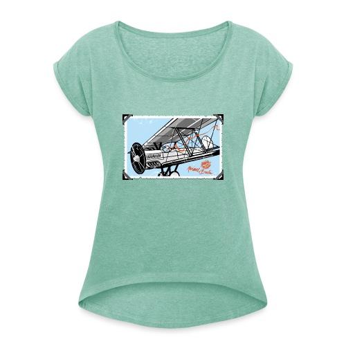 Doppeldecker - Frauen T-Shirt mit gerollten Ärmeln