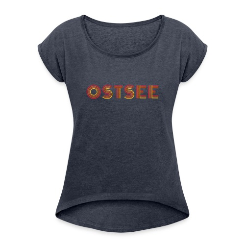 Ostsee Retro - Frauen T-Shirt mit gerollten Ärmeln