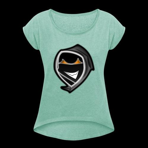ghost svg - Frauen T-Shirt mit gerollten Ärmeln