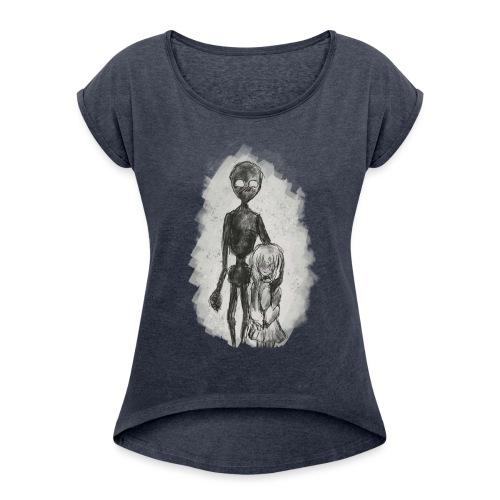 Strange Friends - T-shirt med upprullade ärmar dam