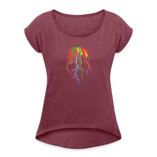 Skull and Colours - Camiseta con manga enrollada mujer
