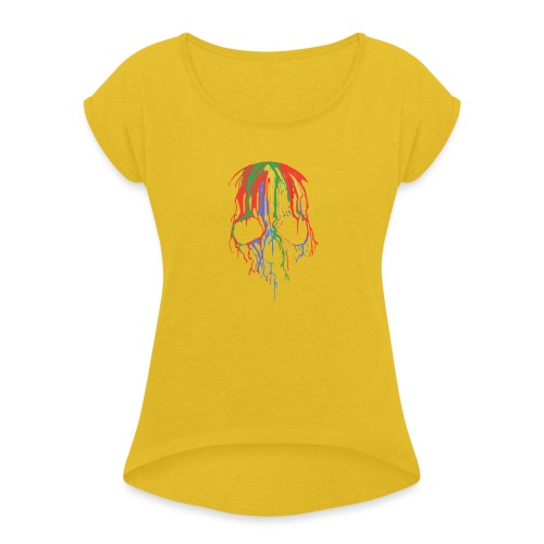 Skull and Colours - Camiseta con manga enrollada mujer