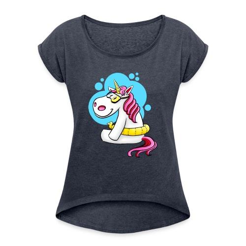 Einhorn mit Schwimmring - Frauen T-Shirt mit gerollten Ärmeln