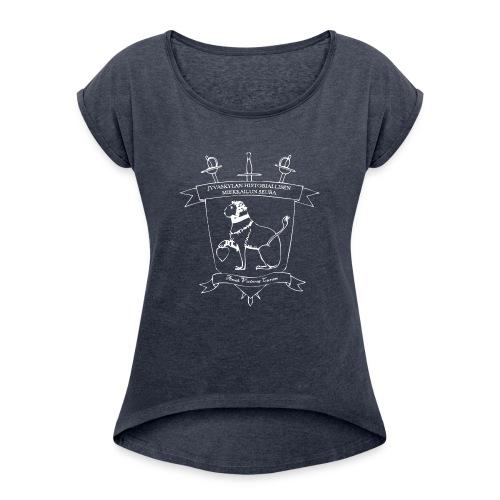 Naisten T-paita, valkoinen logo - Naisten T-paita, jossa rullatut hihat