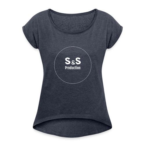SandS. Standar kopp svart, hvit logo - T-skjorte med rulleermer for kvinner