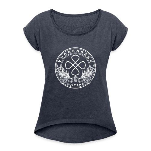 Vuorensaku WHITE - Naisten T-paita, jossa rullatut hihat