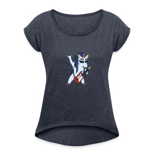 Licorne guitare metal couleur sans fond - T-shirt à manches retroussées Femme