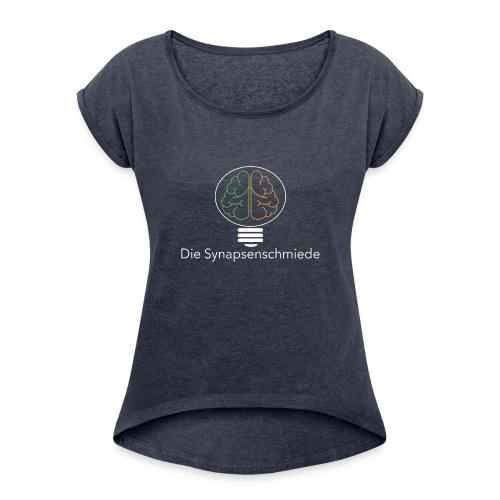 Synapsenschmiede Logo mit Schrift weiß png - Frauen T-Shirt mit gerollten Ärmeln