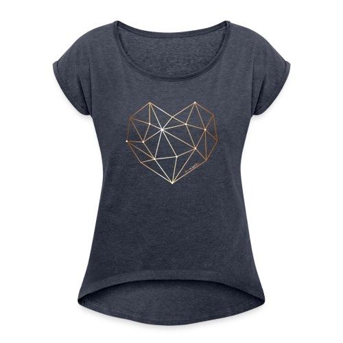 Herz in Diamant, Diamantherz - Frauen T-Shirt mit gerollten Ärmeln