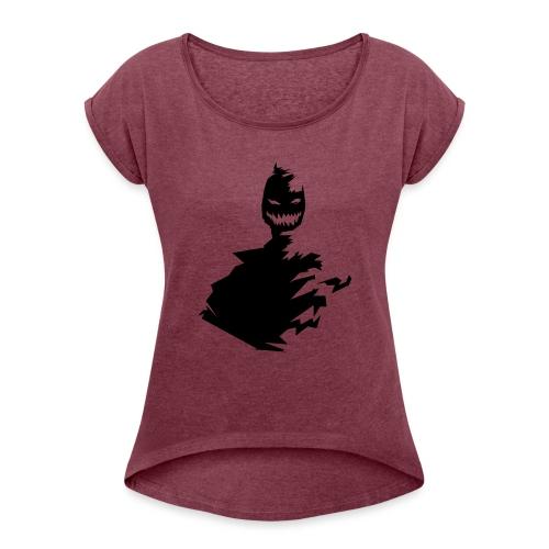 t shirt monster (black/schwarz) - Frauen T-Shirt mit gerollten Ärmeln