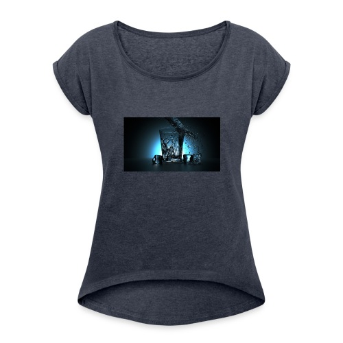 SQT THREE - T-shirt med upprullade ärmar dam