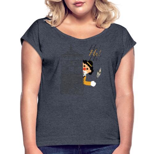 Hu! Hu! Hu! Schwarzgelber Clown am Schwarzen Tor - Frauen T-Shirt mit gerollten Ärmeln