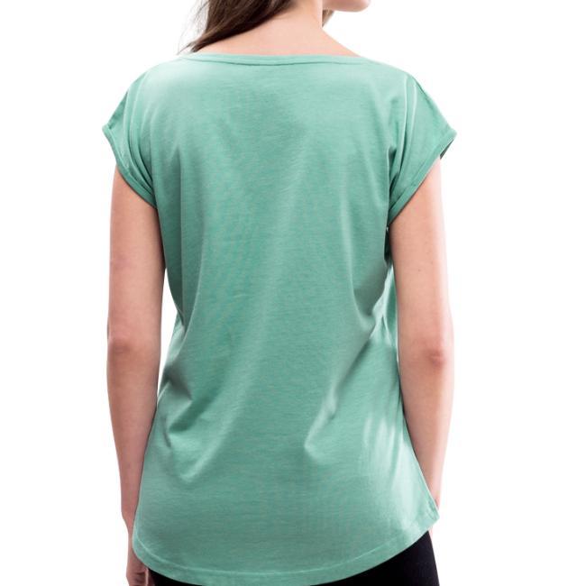 Vorschau: Bis zua Hittn san ma oiwei nu kumma - Frauen T-Shirt mit gerollten Ärmeln