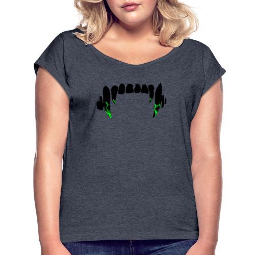 toxic bite - Koszulka damska z lekko podwiniętymi rękawami