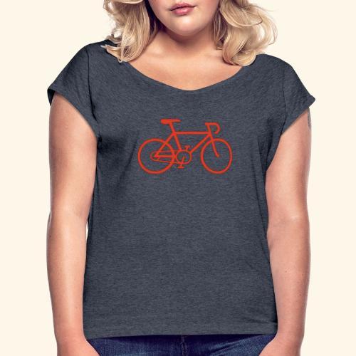 Rennrad, Race-Bike, Fahrrad - Frauen T-Shirt mit gerollten Ärmeln