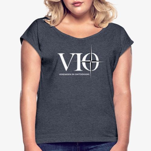 VIO groot voor NSN achter/zij WIT - Vrouwen T-shirt met opgerolde mouwen