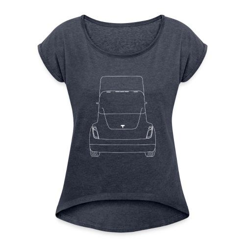Tesla Truck - Vrouwen T-shirt met opgerolde mouwen