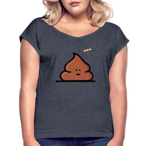 Kacka mit Fliege - Frauen T-Shirt mit gerollten Ärmeln
