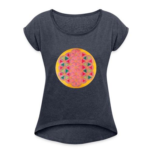Blume des Lebens - Frauen T-Shirt mit gerollten Ärmeln