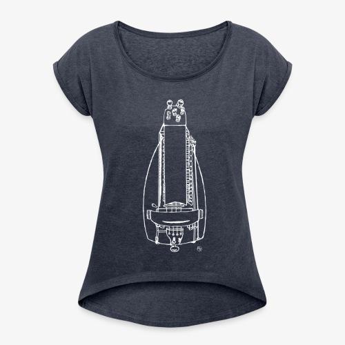 Design Drehleier weiss - Frauen T-Shirt mit gerollten Ärmeln