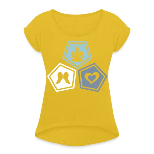 Tee shirt baseball Enfant Trio ange, ailes d'ange - Women's T-Shirt with rolled up sleeves