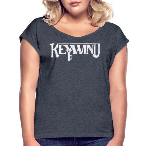 Keywind White Logo - T-skjorte med rulleermer for kvinner