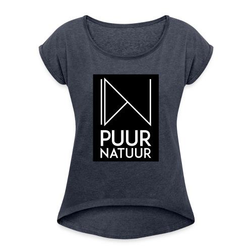 Logo puur natuur negatief - Vrouwen T-shirt met opgerolde mouwen