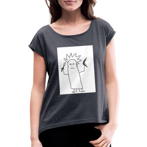 The Crazy Ghost - Frauen T-Shirt mit gerollten Ärmeln