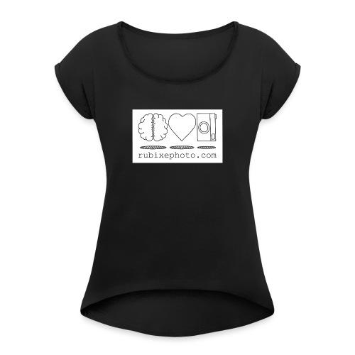 Rubixephoto - Camiseta con manga enrollada mujer