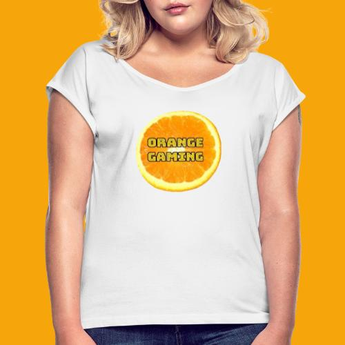Orange_Logo_White - Women's T-Shirt with rolled up sleeves