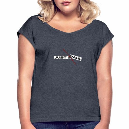 JUST SMILE Design mit blutigem Schnitt, Depression - Frauen T-Shirt mit gerollten Ärmeln