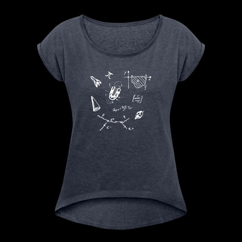Doodles Weiss - Frauen T-Shirt mit gerollten Ärmeln