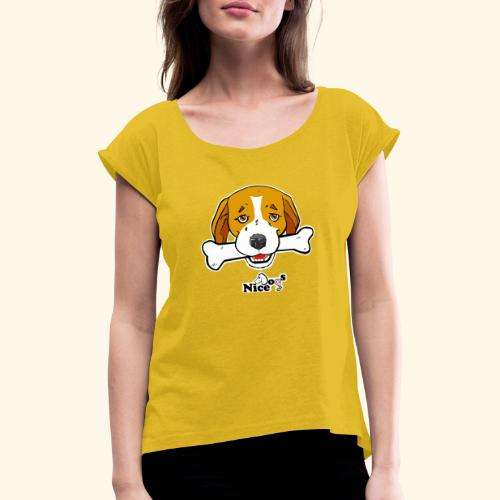Nice Dogs Semolino - Maglietta da donna con risvolti
