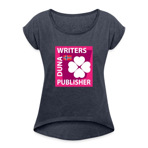 Duna Writers Publisher Pink - T-skjorte med rulleermer for kvinner