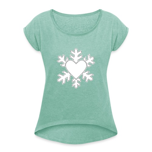 Flocon coeur 3D - T-shirt à manches retroussées Femme