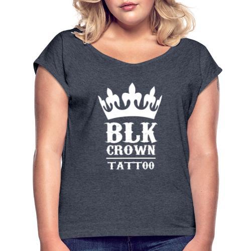 Black Crown Tattoo Studio Logo Weiss - Frauen T-Shirt mit gerollten Ärmeln