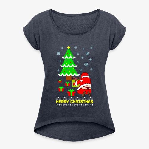 Merry Christmas Santa Tanga Ugly Xmas - Frauen T-Shirt mit gerollten Ärmeln