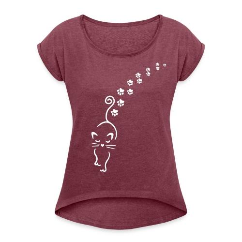 Vorschau: catwalk cat - Frauen T-Shirt mit gerollten Ärmeln