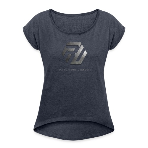 Metall-Logo über Schriftzug - Frauen T-Shirt mit gerollten Ärmeln