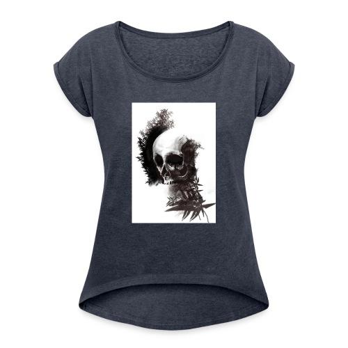 skull leaf - Maglietta da donna con risvolti