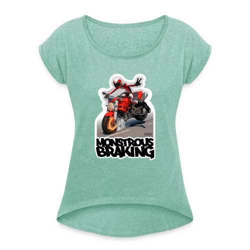 Ducati Monster, a motorcycle stoppie. - Camiseta con manga enrollada mujer