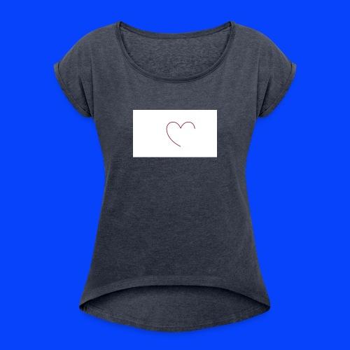 t-shirt bianca con cuore - Maglietta da donna con risvolti