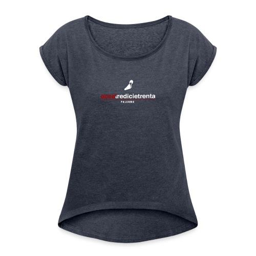 accatredicietrenta fondo nero - Maglietta da donna con risvolti